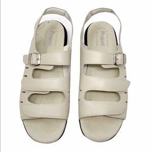 PROPET cream leather walking sandals shoes 10.5N